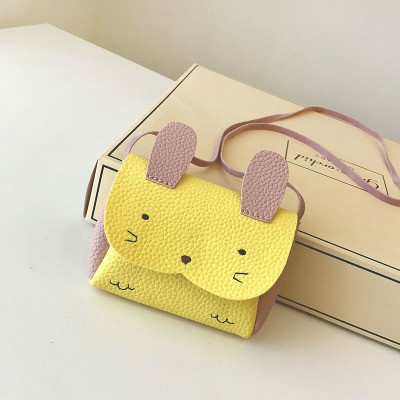 Girls PU Coin Purse Bag Wallet Kids Rabbit One Shoulder Bag Small Coin Purse (Yellow)