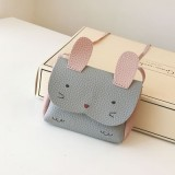 Girls PU Coin Purse Bag Wallet Kids Rabbit One Shoulder Bag Small Coin Purse (Grey)