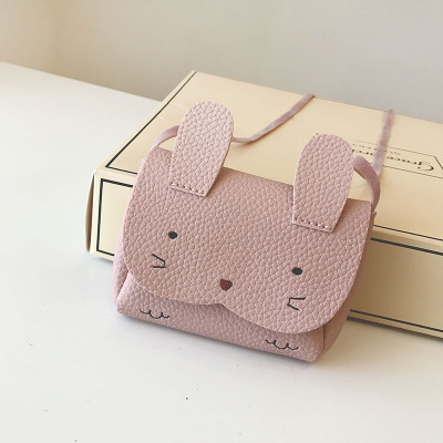 Girls PU Coin Purse Bag Wallet Kids Rabbit One Shoulder Bag Small Coin Purse (Grey)