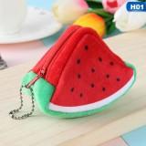 Cute Fruit Wallet Gift Plush Coin Purse Female Bag (watermelon)