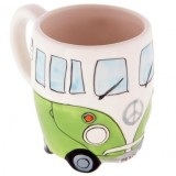 400ml Creative Hand Painting Double Bus Mugs Retro Ceramic Cup Coffee Milk Tea Mug Drinkware (Green)