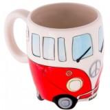 400ml Creative Hand Painting Double Bus Mugs Retro Ceramic Cup Coffee Milk Tea Mug Drinkware (Red)
