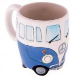 400ml Creative Hand Painting Double Bus Mugs Retro Ceramic Cup Coffee Milk Tea Mug Drinkware (Blue)