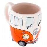 400ml Creative Hand Painting Double Bus Mugs Retro Ceramic Cup Coffee Milk Tea Mug Drinkware (Orange)