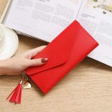 Long Wallet Women Purses Tassel Fashion Coin Purse Card Holder Wallets Female Clutch PU Leather Wallet (Red)