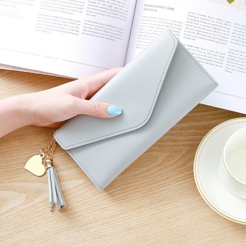 Long Wallet Women Purses Tassel Fashion Coin Purse Card Holder Wallets Female Clutch PU Leather Wallet (Light grey)