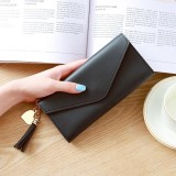 Long Wallet Women Purses Tassel Fashion Coin Purse Card Holder Wallets Female Clutch PU Leather Wallet (Black)
