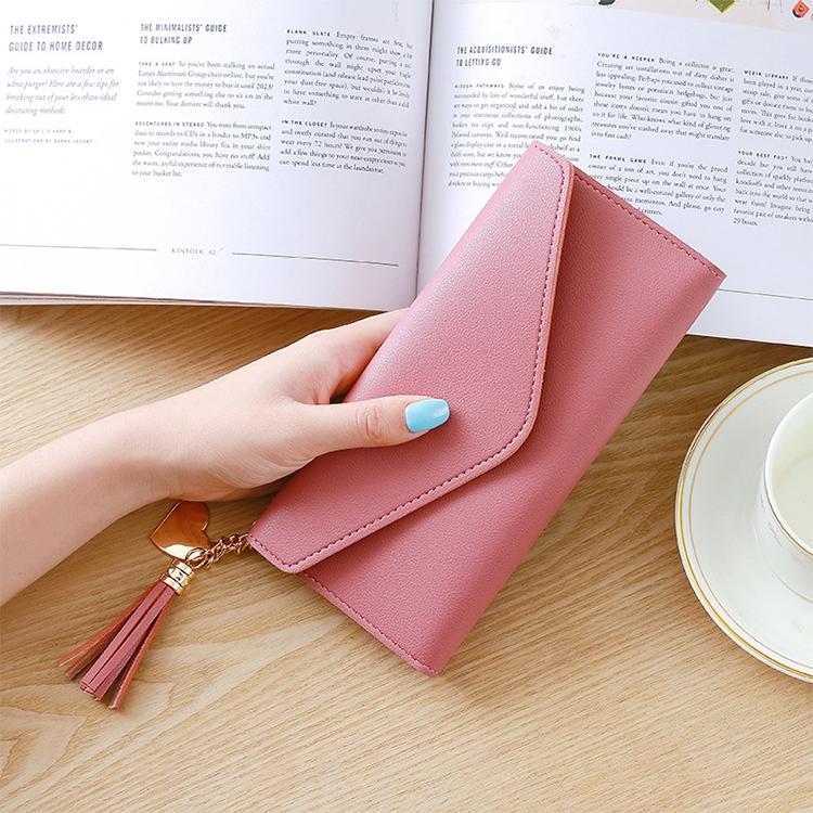 Long Wallet Women Purses Tassel Fashion Coin Purse Card Holder Wallets Female Clutch PU Leather Wallet (Dark pink)