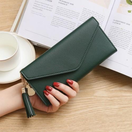 Long Wallet Women Purses Tassel Fashion Coin Purse Card Holder Wallets Female Clutch PU Leather Wallet (Atrovirens)
