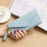 Long Wallet Women Purses Tassel Fashion Coin Purse Card Holder Wallets Female Clutch PU Leather Wallet (Sky blue)
