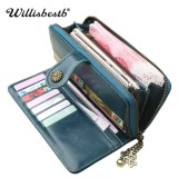 Vintage Button Phone Purses Women Wallets Female Purse Leather Brand Retro Ladies Long Zipper Woman Wallet Card Clutch (Long green)