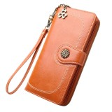 Vintage Button Phone Purses Women Wallets Female Purse Leather Brand Retro Ladies Long Zipper Woman Wallet Card Clutch (Long orange)
