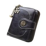 Vintage Button Phone Purses Women Wallets Female Purse Leather Brand Retro Ladies Long Zipper Woman Wallet Card Clutch (Short black)