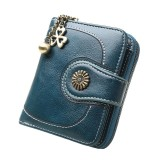 Vintage Button Phone Purses Women Wallets Female Purse Leather Brand Retro Ladies Long Zipper Woman Wallet Card Clutch (Short green)