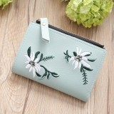 Embroidery Short Wallet PU Leather Wallets Female Floral Hasp Coin Purse Zipper Bag Card Holders (Light Green)