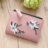 Embroidery Short Wallet PU Leather Wallets Female Floral Hasp Coin Purse Zipper Bag Card Holders (Light Pink)