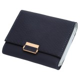 Luxury Wallet Female Leather Women Leather Purse Plaid Wallet Ladies Hot Change Card Holder Coin Small Purses for Girls (Royal blue)