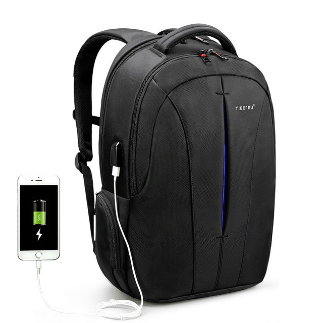 Waterproof 15.6-inch Laptop Backpack Anti-theft Business Travel Backpack School Bag (Black+Blue USB)