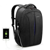 Waterproof 15.6-inch Laptop Backpack Anti-theft Business Travel Backpack School Bag (Black+Blue USB)