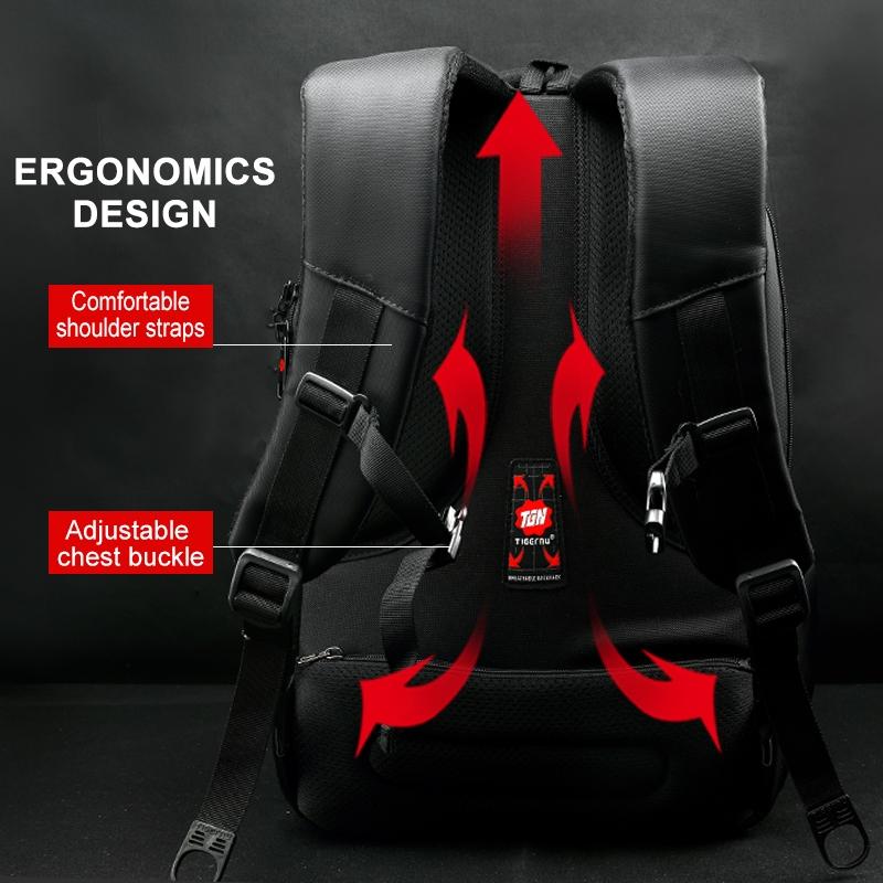 Waterproof 15.6-inch Laptop Backpack Anti-theft Business Travel Backpack School Bag (Black+Orange)