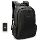 Anti-theft Nylon Laptop Backpacks School Fashion Travel Male Casual Schoolbag 15.6 inch (Black with USB Port)