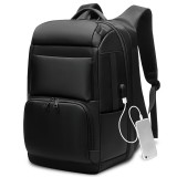 Men Large Capacity Travel Backpack Anti-thief Laptop Backpack with USB Charging Port (Black)