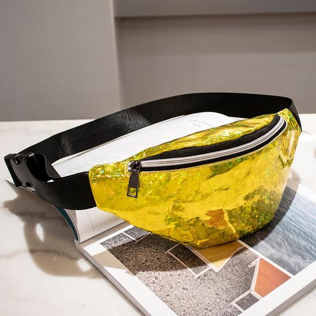 Women Sequins Laser Waist Pack Multi-functional Sports Chest Waist Bag (Yellow)