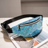 Women Sequins Laser Waist Pack Multi-functional Sports Chest Waist Bag (Blue)