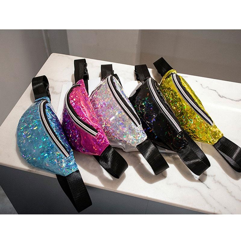 Women Sequins Laser Waist Pack Multi-functional Sports Chest Waist Bag (Black)
