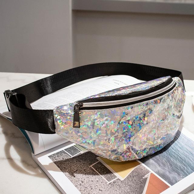 Women Sequins Laser Waist Pack Multi-functional Sports Chest Waist Bag (Silver)