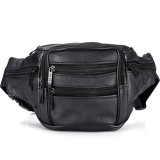 Fashion Men Genuine Leather Waist Bags Travel Necessity Organizer Mobile Phone Bag (Black)