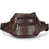 Fashion Men Genuine Leather Waist Bags Travel Necessity Organizer Mobile Phone Bag (Dark Brown)