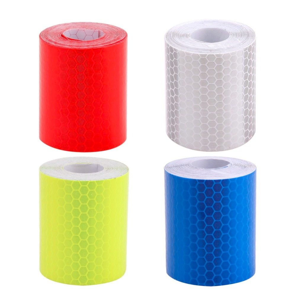 Car Motorcycles Reflective Material Tape Sticker Safety Warning Tape Reflective Film (Yellow)