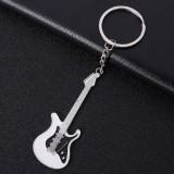 2 PCS Creative Guitar Keychain Metal Musical Instrument Pendant (White)