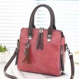 Vintage PU Leather Ladies HandBags Women Messenger Bags Totes Tassel Designer Crossbody Shoulder Bag Boston Hand Bags (Dark Pink)
