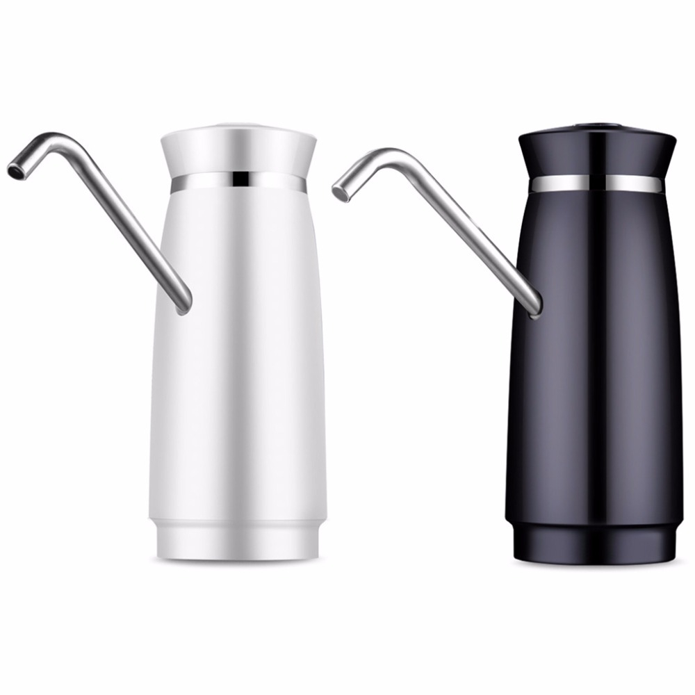Stainless Steel Automatic Electric Portable Water Pump Dispenser Water Feeder Gallon Drinking Bottle Switch (Black)