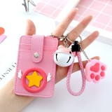 3 PCS Cartoon Star Wings Cute Student Bus Card Set ID Card Protection Cover with Bell (Wing)
