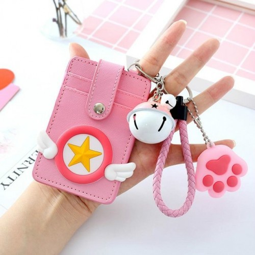 3 PCS Cartoon Star Wings Cute Student Bus Card Set ID Card Protection Cover with Bell (Pentagram)