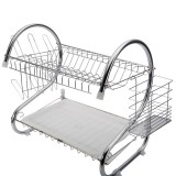 2 Tiers Kitchen Dish Drying Rack Drainer Dryer Tray Cultery Holder (Silver)