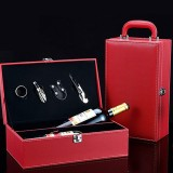 Wine Gift Box Double Stick with Tools Wine Gift Box Leather Box (Red)