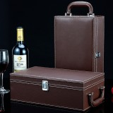 Wine Gift Box Double Stick with Tools Wine Gift Box Leather Box (Brown)