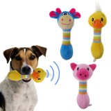 2 PCS Cute Pet Dog Toys Chew Squeaker Animals Pet Toys Plush Puppy Honking Squirrel For Dogs Cat Chew Squeak Toy Dog Goods (Duck)