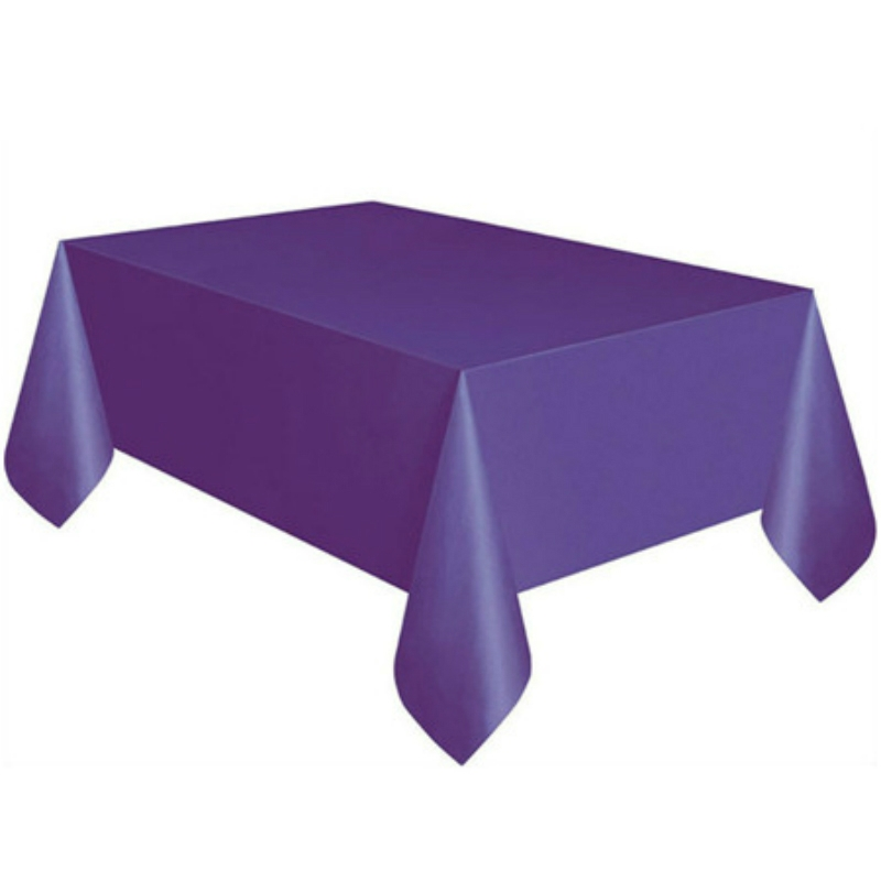 10 PCS Disposable Plastic Tablecloth Solid Color Wedding Birthday Party Table Cover Rectangle Desk Cloth Wipe Covers (purple)