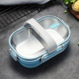 Portable Lunch Box For Kids School 304 Stainless Steel Box Kitchen Leak-proof Food Container Food Box (Blue)