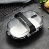 Portable Lunch Box For Kids School 304 Stainless Steel Box Kitchen Leak-proof Food Container Food Box (Black)
