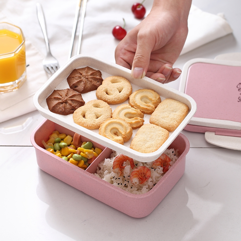 Wheat Straw Carrying Lunch Box Student Multi-layer Sushi Box Lunch Box Fruit Box Lunch Box Set 800-1000ml (Rectangular double layer pink)
