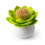 2 PCS Lotus Shaped Cotton Swab Box Toothpicks Holder Toothpick Case (Green)