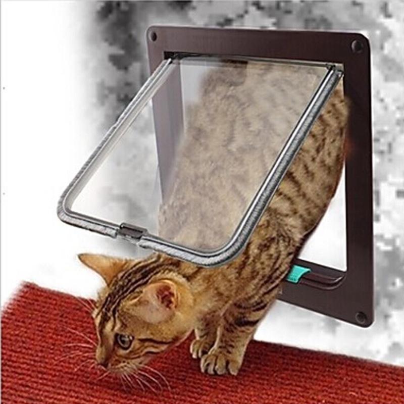 Pet Door 4 Ways Lockable Security Flap Door for Dog Cat Kitten Wall Mount Door Animal Small Pet Cat Dog Gate Door, Size: M (Coffee)