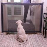Dog Pet Fences Portable Folding Safe Protection Safety Door Magic Gate For Dogs Cat Pet, Size: 180cm x72cm (Black)