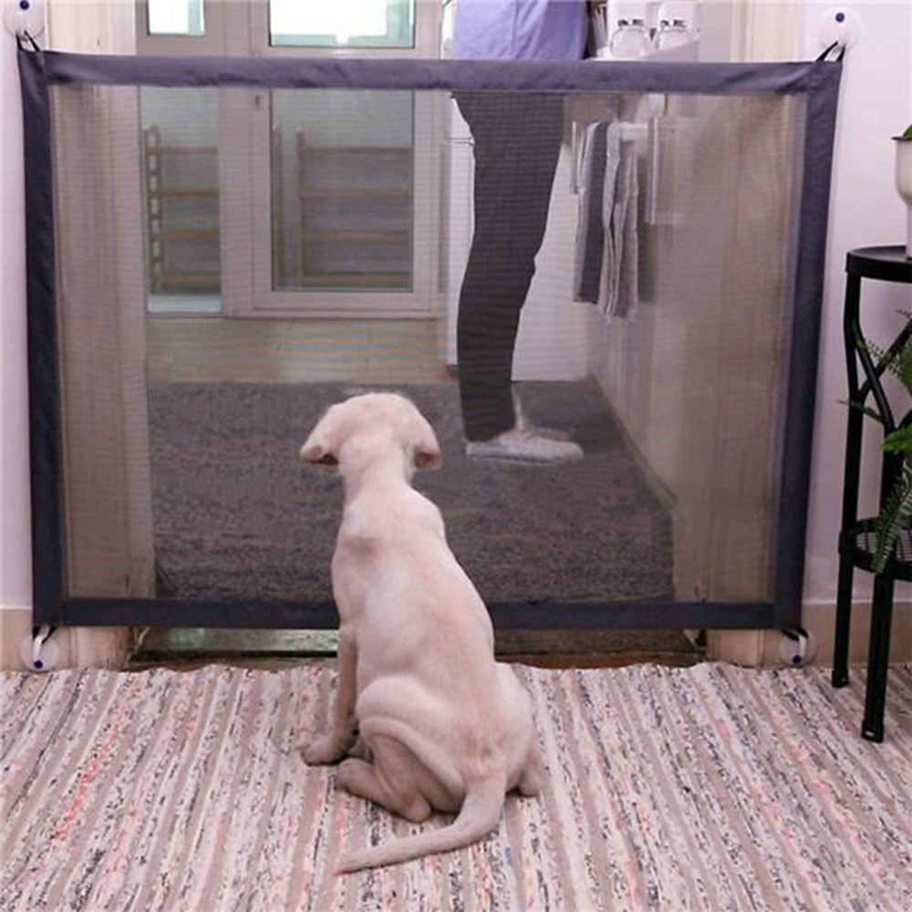Dog Pet Fences Portable Folding Safe Protection Safety Door Magic Gate For Dogs Cat Pet, Size: 110cm x72cm (Black)